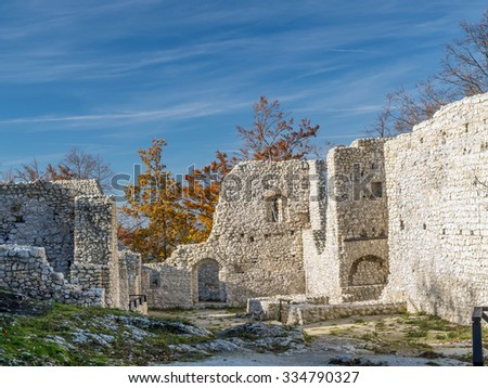Ruins of medieval castle Smolen, near Pilica. located on the Trail of Eagles' Nest within the Krakow-Czestochowa Upland, Poland - stock photo