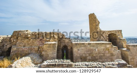 Ruins of Old Aleppo, Syria, one of the oldest continuously inhabited cities in the world; it has been inhabited since perhaps as early as the 6th millennium BC - stock photo