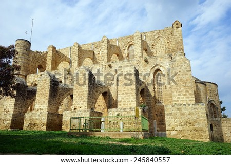 Ruins of old church in Famagusta, North Cyprus                                - stock photo