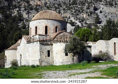 Ruins of old greek chuch near Nicosia, North Cyprus                                - stock photo