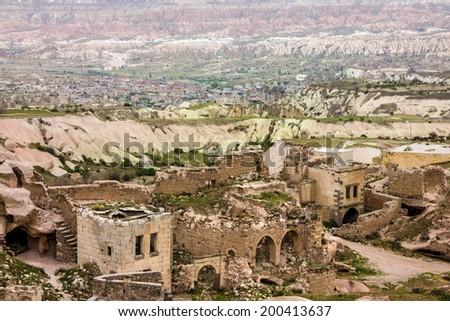 Ruins of old town Goreme, Cappadocia, Turkey  - stock photo