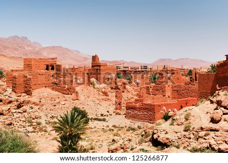 Ruins of old village in Morocco - stock photo