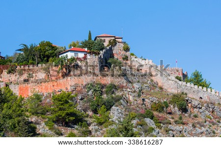 Ruins of Ottoman fortress in Alanya - stock photo