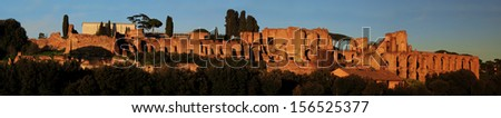 Ruins of Palatine hill palace in Rome, Italy panorama view - stock photo