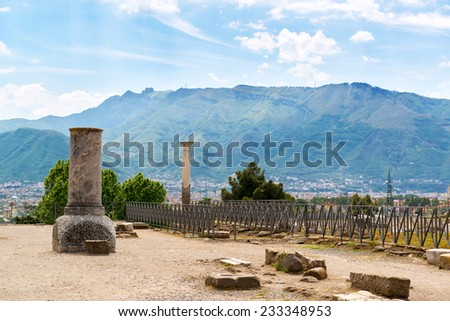 Ruins of Pompeii, Italy. Pompeii is an ancient Roman city died after the eruption of Mount Vesuvius in 79 AD. - stock photo