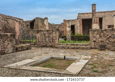 ruins of Pompeii , which was destroyed and buried during the eruption of Mount Vesuvius in 79 AD - stock photo