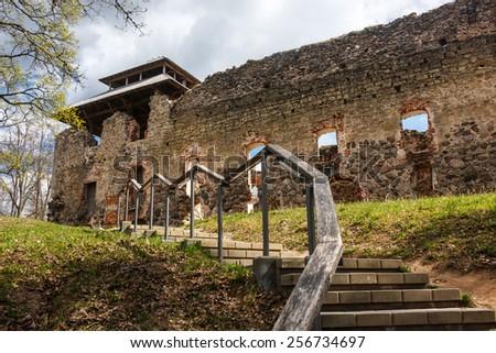 Ruins of Rauna castle, Latvia - stock photo