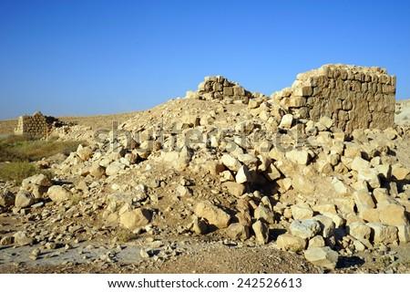 Ruins of roman fortress in Meizad Tamar in Judea desert, Israel                                - stock photo