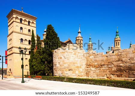 ruins of Roman Wall and Zuda Tower in summer. Zaragoza, Aragon  - stock photo