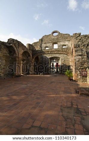 Ruins of Santo Domingo church at Old Quarters, Panama city, Panama, Central America - stock photo