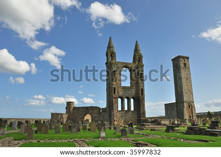 ruins of st andrews cathedral in scotland - stock photo