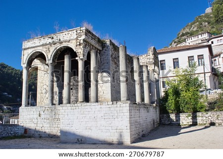 ruins of temple, Berat, Albania - stock photo