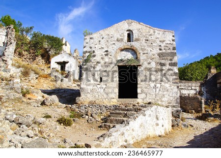 Ruins of Temple in ancient Greek city Kayakoy in Turkey. - stock photo