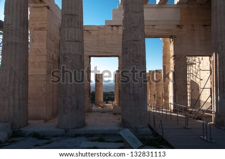 Ruins of temple inside the Acropolis City - Greece - stock photo