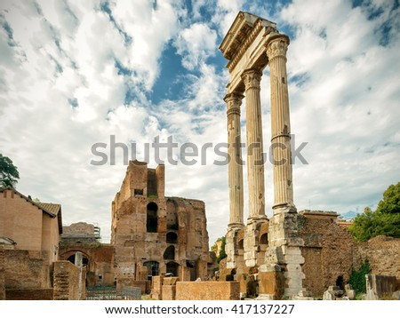 Ruins of Temple of Castor & Pollux at Roman Forum, Rome, Italy - stock photo
