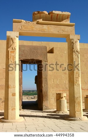 Ruins of Temple of Hatshepsut. View from the inside towards Nile valley. West bank. Luxor. Egypt. - stock photo