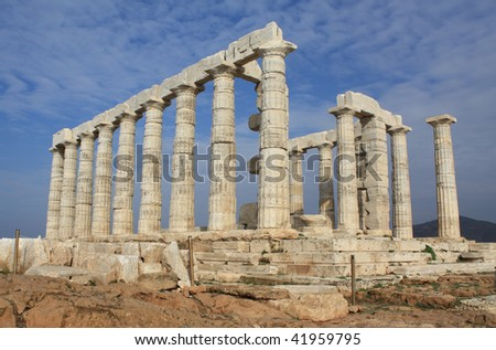 Ruins of temple of Poseidon near Athens, Greece - stock photo