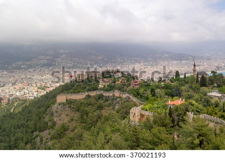 Ruins of the Alanya castle, Turkey - stock photo