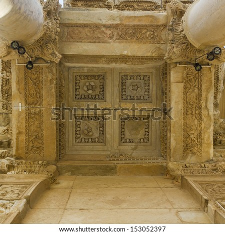Ruins of the ancient Greek city Ephesus - stock photo
