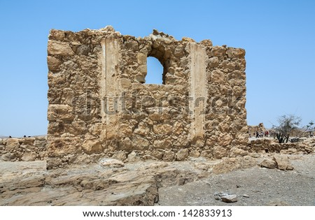 Ruins of the ancient Masada fortress near Dead Sea - Israel - stock photo