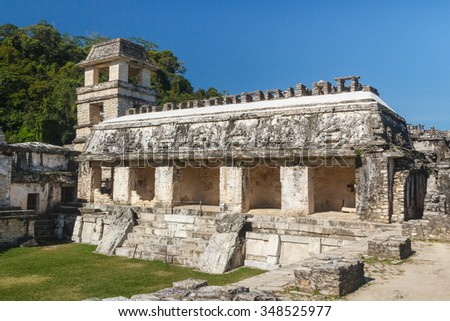 Ruins of the ancient Mayan city of Palenque, Mexico - stock photo