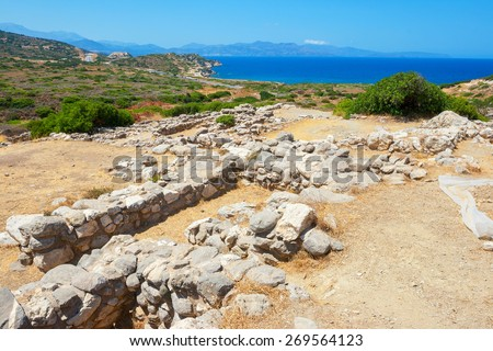 Ruins of the ancient Minoan settlement. Gournia, Crete, Greece - stock photo