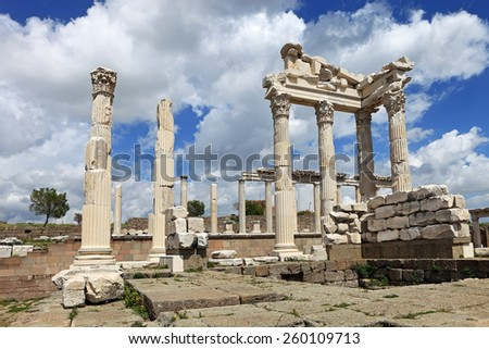 Ruins of the ancient temple of Trajan in Bergama Acropolis, Turkey - stock photo