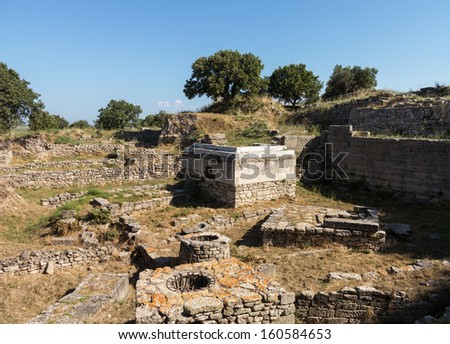 Ruins of the buildings in old city of Troy in Turkey - stock photo