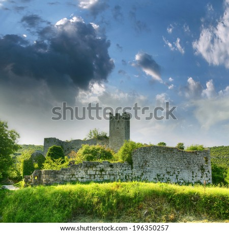 Ruins of the castle Dvigrad, Istria, Croatia. Dvigrad is located 3-4 km from Kanfanar and about 20 km from the town of Rovinj. - stock photo