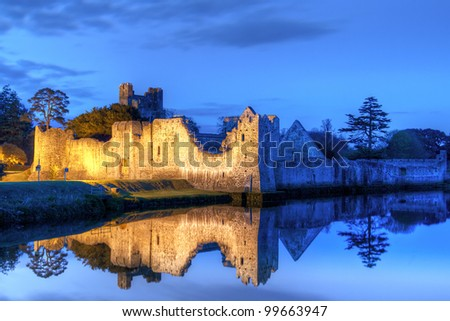 Ruins of the castle in Adare at night, Co. Limerick - Ireland - stock photo