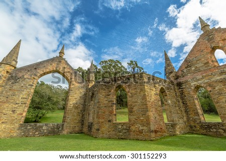 Ruins of the Church Convict, ancient historic church convict settlement, at Port Arthur Historic Site, in Tasman Peninsula, Tasmania, Australia. . - stock photo