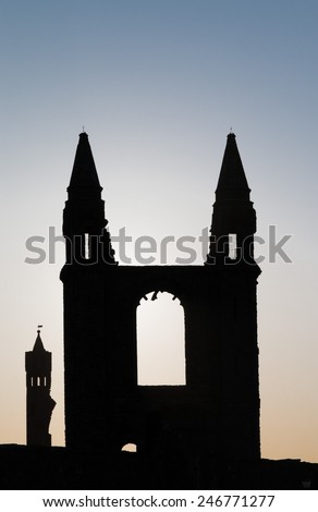 Ruins of the famous medieval Cathedral of St. Andrews at the east coast of Scotland - stock photo