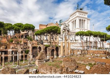 Ruins of the Forum in Rome, Lazio region, Italy. - stock photo