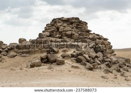 Ruins of the Great Pyramids at the Giza Necropolis, Giza Plateau, Egypt. UNESCO World Heritage - stock photo
