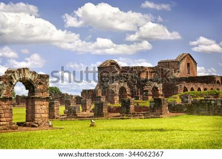 Ruins of the Jesuit Guarani reduction La Santisima Trinidad de Parana, UNESCO World Heritage Site, Paraguay, South America - stock photo