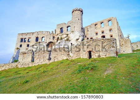 Ruins of the old medieval Ogrodzieniec Castle in Poland. Krakow-Czestochowa Upland, Trail of the Eagles' Nests at Polish Jurassic Highland. - stock photo