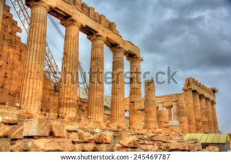 Ruins of the Parthenon in Athens - Greece - stock photo