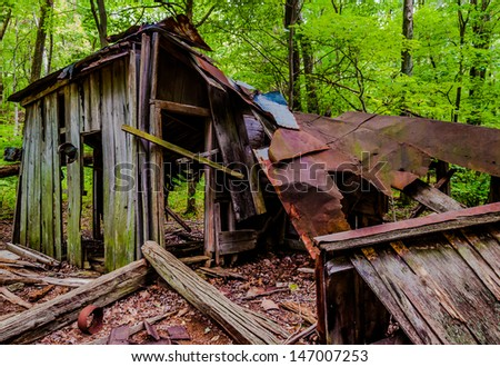 Ruins of the Pocosin Mission, in Shenandoah National Park, Virginia - stock photo