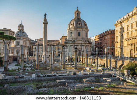 ruins of the Roman Forum in the evening - stock photo