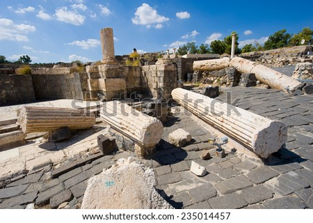 Ruins of the roman period in Beit She'An in Galilee in Israel - stock photo