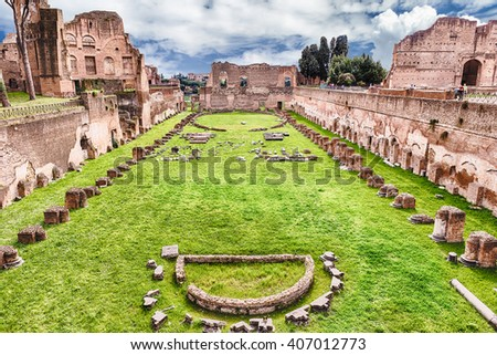 Ruins of the Stadium of Domitian, Palatine Hill in Rome, Italy - stock photo