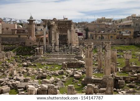 Ruins of the temple of Venus, Baalbek, Lebanon.  Septimius Severus added this pentagonal temple of Venus to the monumental city. - stock photo