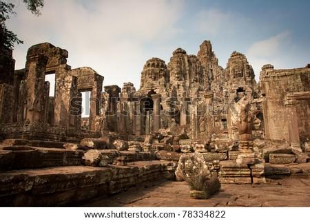 Ruins of the temples, Angkor Wat, Cambodia - stock photo