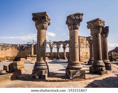 Ruins of the Zvartnots Cathedral in Armenia. - stock photo