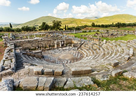 ruins of theater in Ancient city of Messinia, Peloponnes, Messenia, Greece - stock photo