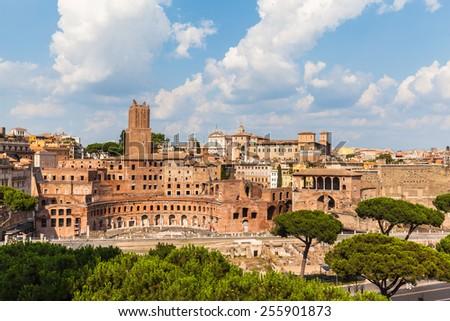 Ruins of Trajan's Market (Mercati di Traiano) in Rome, Italy - stock photo