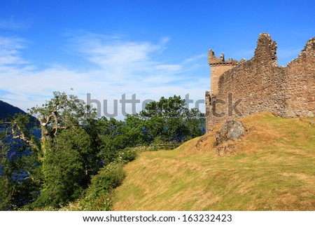 Ruins of Urquhart Castle in the Highlands of Scotland - stock photo