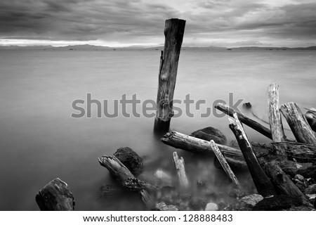 Ruins of wooden pillars at shore. Borneo, Sabah, Malaysia - stock photo