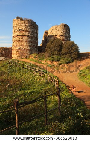 Ruins of Yoros Castle ( Yoros Kalesi ) built in Bosporus, Istanbul. The castle also known as Genoese Castle. - stock photo