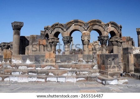 Ruins of Zvartnots (celestial angels) temple ,Armenia,Central Asia,unesco heritage site - stock photo